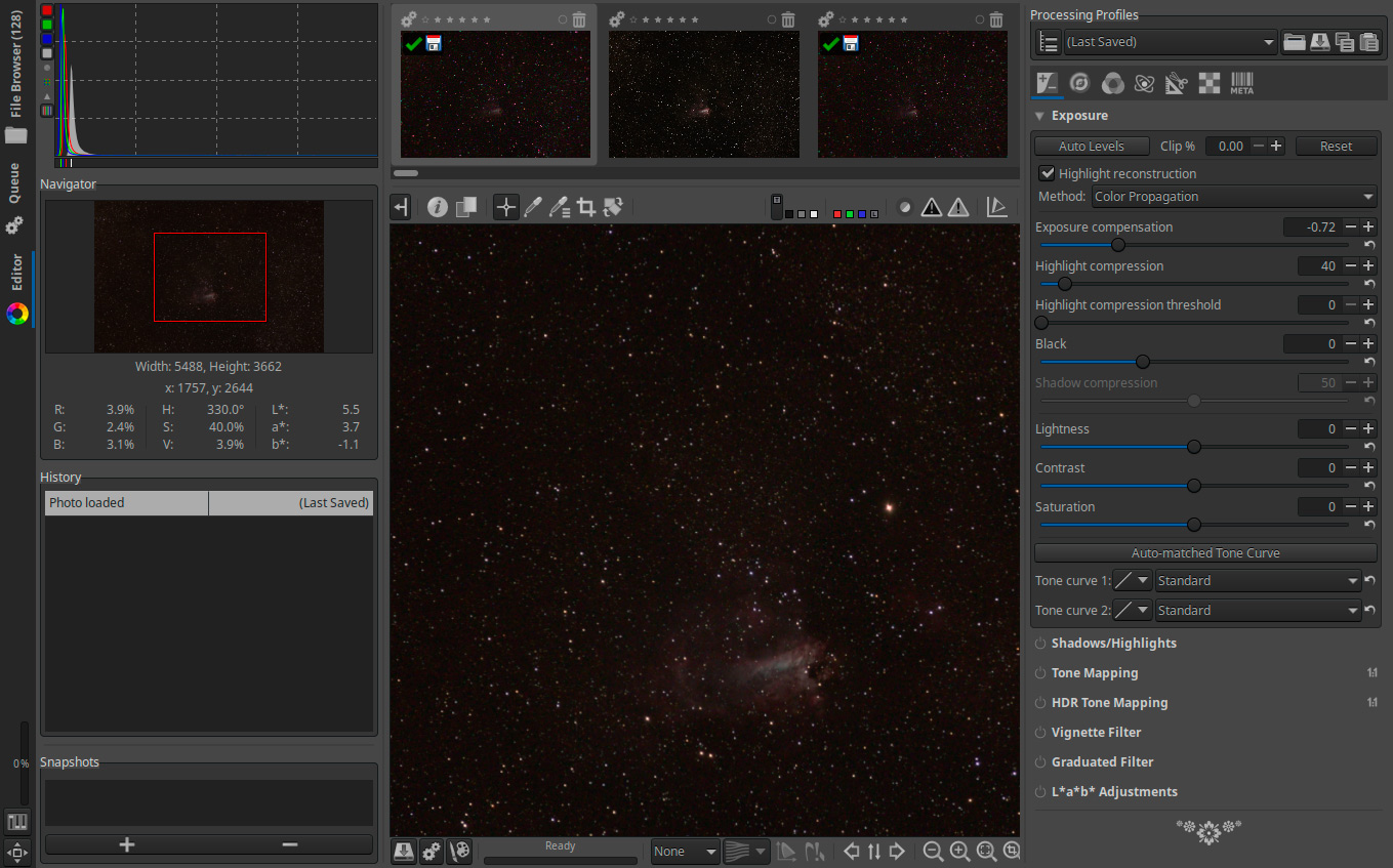 Astrophotography with RawTherapee, Clarkvision com