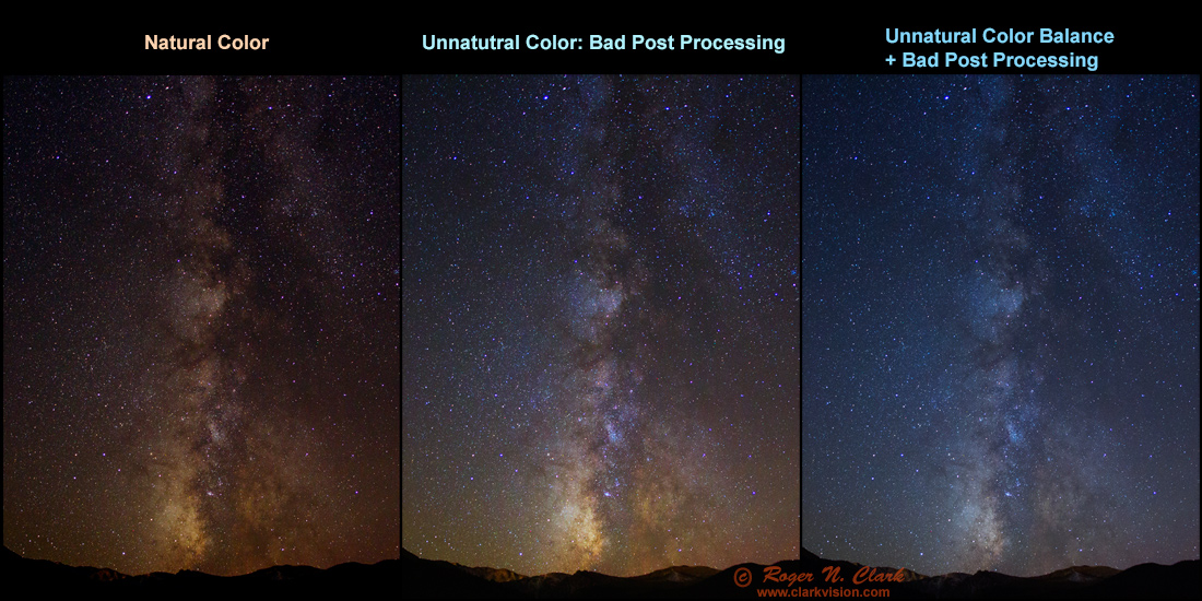 The left panel shows natural colors verified by star photometry. The middle  panel shows color balance shifting with scene intensity causing an ... 7bbf304a2