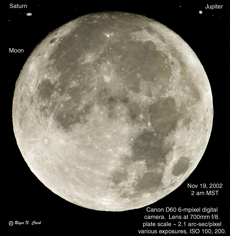 Clarkvision com Astro Photo Moon Saturn and Jupiter